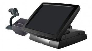 A typical EPOS System: touchscreen computer, barcode scanner and receipt printer