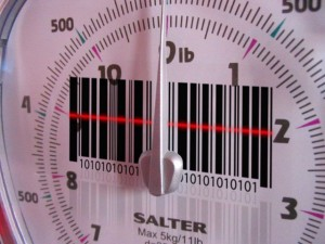 Weighing scales with a barcode